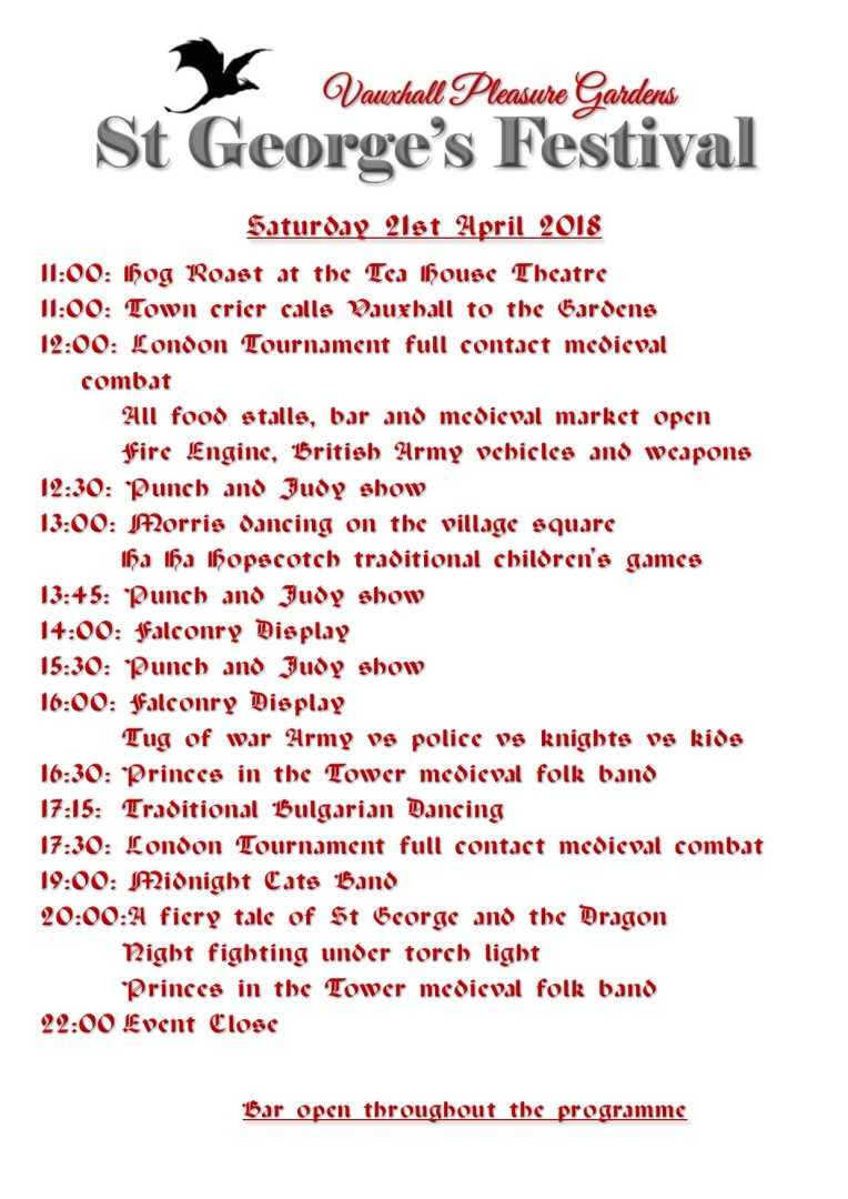 Running Order St George 2018 Saturday